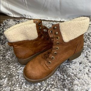 Brown Suede Combat Boots with Faux Fur